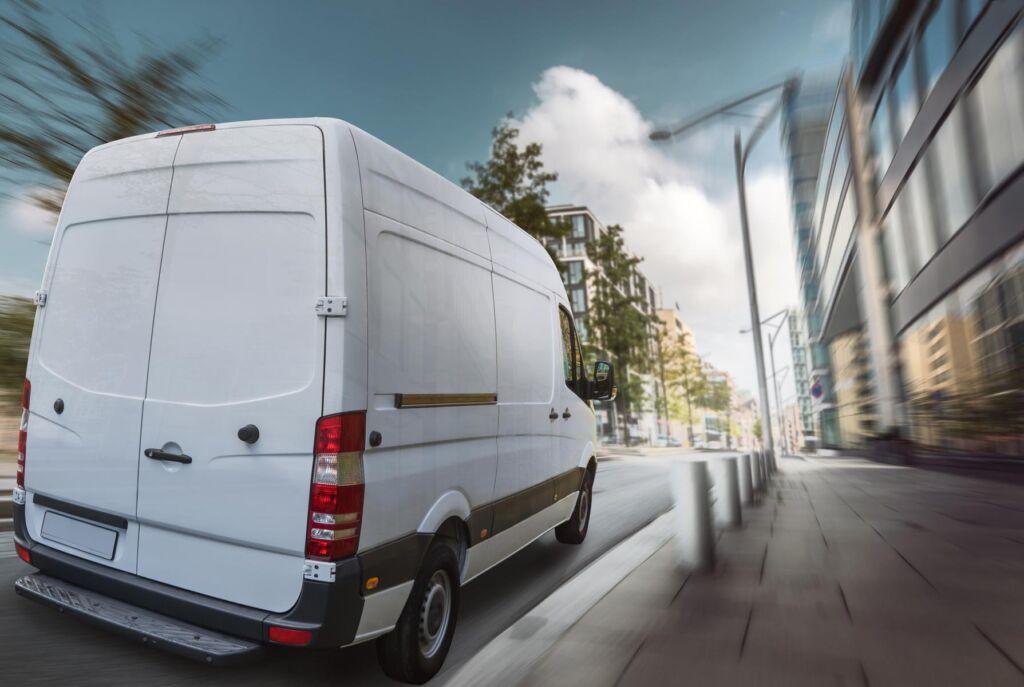 Delivery van on street blur